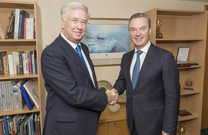 Defence Secretary Sir Michael Fallon today met with Australian Minister for Defence Industry Chris Pyne. Crown Copyright.