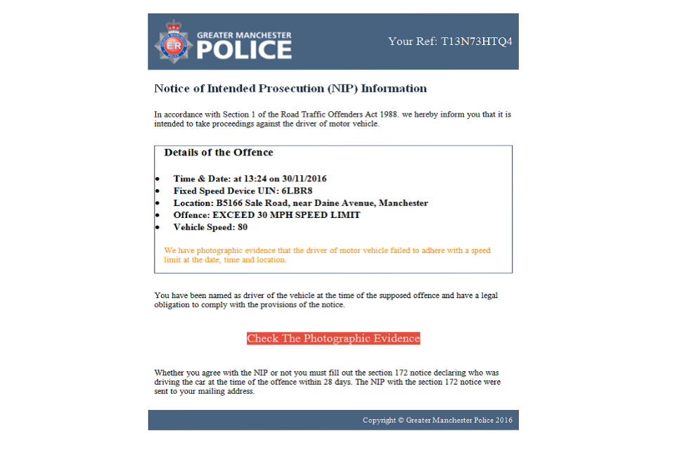 Fake email purporting to be from Greater Manchester Police