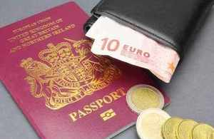 British passport and Euro currency