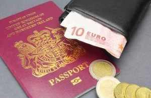 British passport and Euro currency