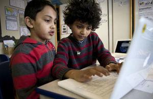 Primary school children using a computer