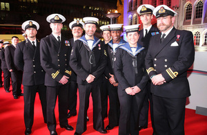 Naval representatives from HMS Enterprise, a nominee in the Hero Overseas Unit category, on the red carpet at the Millies last night