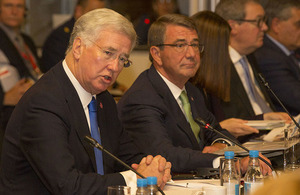 Defence Secretary Sir Michael Fallon hosted a meeting of defence ministers from the Global Coalition against Daesh. Crown Copyright.
