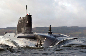 The Royal Navy's fourth Astute Class attack submarine has been formally named Audacious. Crown Copyright