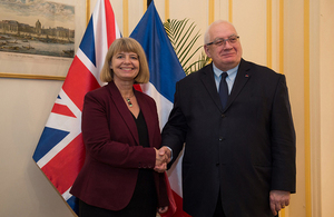 Minister Harriett Baldwin with her French counterpart Laurent Collet-Billon. Copyright Thales. All rights reserved.