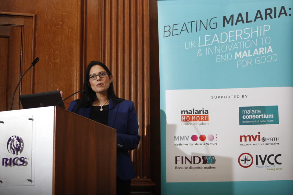 Priti Patel speaking about malaria