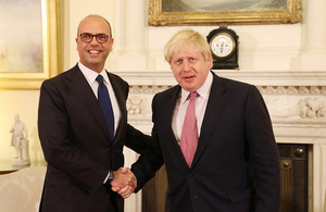 Italian Foreign Minister Angelino Alfano and Foreign Secretary Boris Johnson