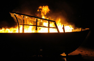 Picture of a burning boat