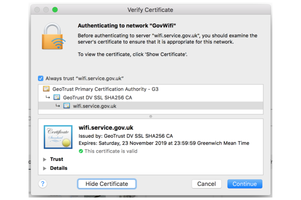 Connect To Govwifi Using A Mac Imac Or Macbook Gov