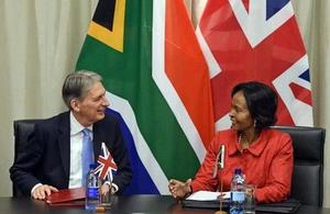 Chancellor of the Exchequer Mr Philip Hammond meeting Ms Maite Nkoana-Mashabane, South African Minister of International Relations and Cooperation in South Africa