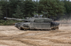 UK Main Battle Tank, Challenger 2 Theatre Entry Standard (CR2 TES) fitted with a Mobile Camouflage System (MCS). Crown Copyright.
