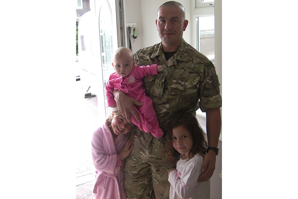 Sergeant Barry Weston with his daughters Jasmine, Poppy and Rose (All rights reserved.)