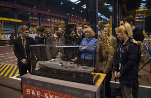 Minister Harriett Baldwin has cut steel on the next Royal Navy Offshore Patrol Vessel. Crown Copyright