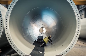 Wind turbine being constructed in CS Wind's Factory