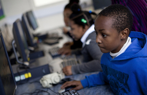 children using desktop computers