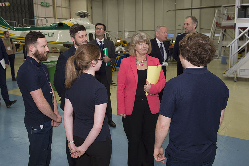 Minister for Defence Procurement visits Leonardo Helicopters. Copyright MOD