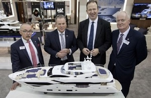 Industry Minister Jesse Norman, David Pougher, BMF, Sean Robertson, Sunseeker International and Howard Pridding, BMF