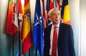 Defence Minister Earl Howe witnessed the handover of the NATO Very High Readiness Joint Task Force at an official ceremony at Imjin Barracks, Gloucester. Crown Copyright.