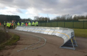 Environment Agency staff and partners during the temporary flood defence exercise