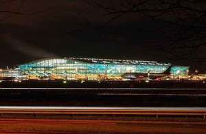 Nightime photograph of Heathrow airport.