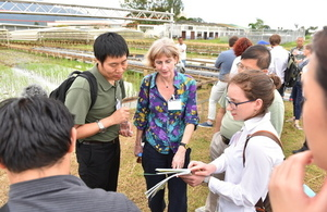 Delegates learning more about ongoing rice research at IRRI