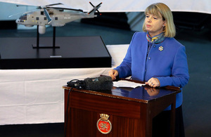 Minister for Defence Procurement Harriett Baldwin announcing the £269M deal on HMS Dragon. Crown Copyright