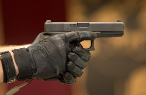 Close up of a Glock 17 pistol [Picture: Andrew Linnett, Crown Copyright/MOD 2013]