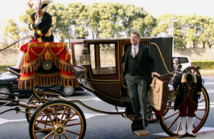 Ambassador Paul Madden disembarks an Imperial Household carriage after presenting his credentials to His Majesty the Emperor of Japan.