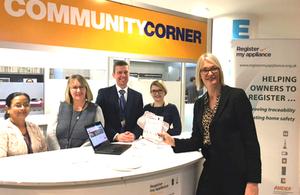 Minister Margot James registering her appliances at helpdesk
