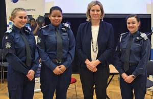 Home Secretary and members of Greenwich volunteer police cadets