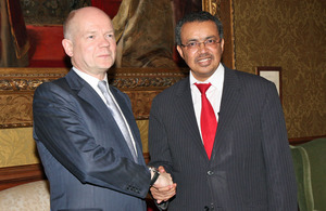 Foreign Secretary William Hague meeting Dr Tedros Adhanom Ghebreyesus, Foreign Minister of Ethiopia in London, 10 January 2013.