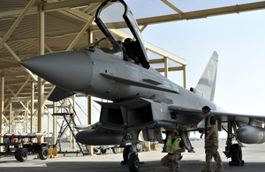 An RAF Typhoon from 6 Squadron at Al Dhafra Air Base in the United Arab Emirates [Picture: Crown Copyright/MOD 2013]