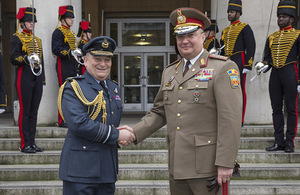Chief of the Defence Staff Air Chief Marshal Sir Stuart Peach today welcomed to London Chief of the General Staff of the Romanian Armed Forces, General Nicolae-lonel Ciucă. Crown Copyright.