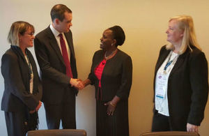 DFID Parliamentary Under Secretary of State, James Wharton shaking hands with Tanzanian Minister of Education, Science and Technology Prof. Joyce Ndalichako