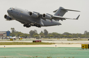 A new RAF C-17 Globemaster aircraft takes off from Boeing's production plant in California, USA, in May 2012 (library image) [Picture: Copyright Boeing]