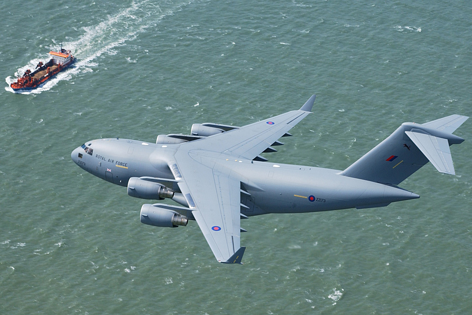 An RAF C-17 in flight