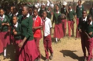 Image of African children walking to school.
