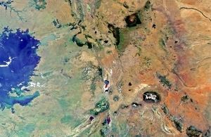 Image of Kenya, Tanzania and Uganda from space.