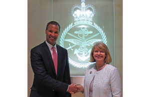 Minister for Defence Procurement Harriett Baldwin discussed the MOD's joint initiative with Boeing International President Marc Allen. Crown Copyright