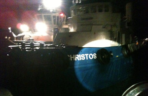 Torbay and Exmouth lifeboats approach the damaged tug Christos XXII [Picture: via MOD]