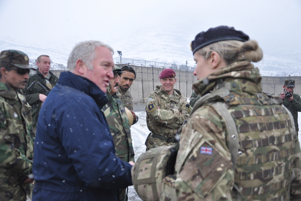 Mike Penning meets with a British adviser to female Afghan instructors for ANAOA