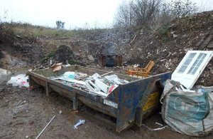 Waste in a skip at Shifnal site