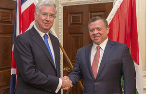 Defence Secretary Sir Michael Fallon has praised the crucial role Jordan plays in the fight against Daesh, following a meeting today with His Majesty King Abdullah II. Crown Copyright