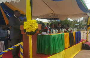 Hon. Eng. Lwenge giving a speech at the Payment by Results Scheme launch