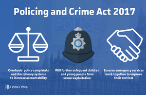 Graphic explaining that the Policing and Crime Act has received Royal Assent.
