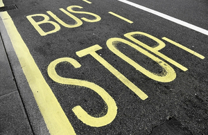 Bus stop road marking.