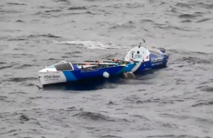 Ocean rowing boat Toby Wallace drifting after it was abandoned