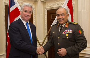 Defence Secretary Sir Michael Fallon met the Chief of Staff of the Egyptian Armed Forces Lieutenant General Mahmoud Hegazy. Crown Copyright.