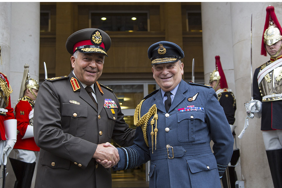 Chief of the Defence Staff Air Chief Marshal Sir Stuart Peach today welcomed his Egyptian counterpart Lieutenant General Mahmoud Hegazy to London. Crown Copyright.