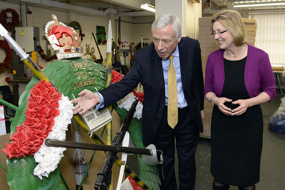 Earl Howe with Poppy Factory CEO Deirdre Mills.